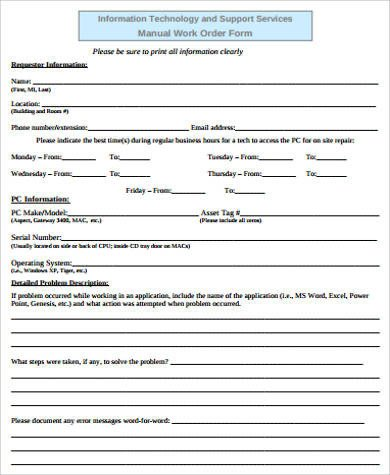 Sample Work order form Sample Work order form 8 Examples In Word Pdf