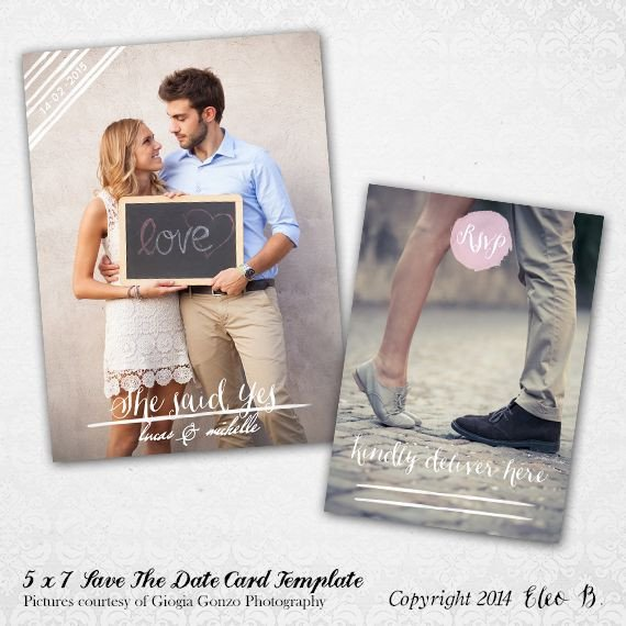Save the Date Photoshop Templates 5x7 Save the Date Template Shop Template Std005