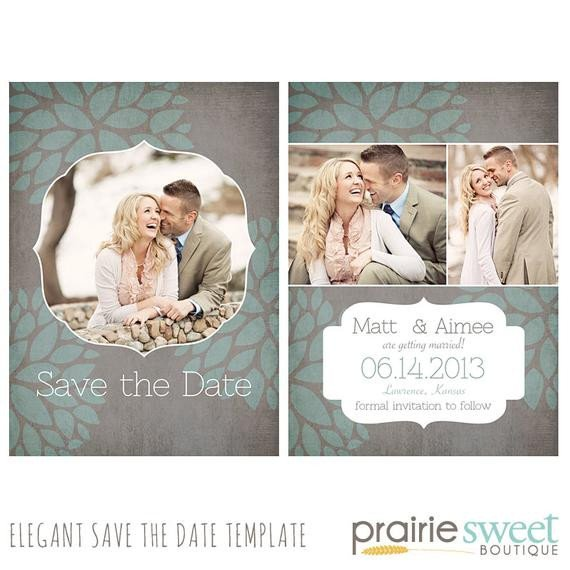 Save the Date Photoshop Templates Classic Bloom Save the Date Shop Template for