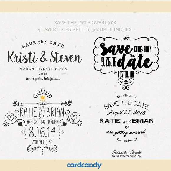 Save the Date Photoshop Templates Digital Save the Date Overlays Wedding Card