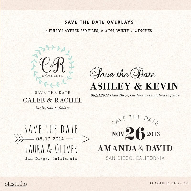 Save the Date Photoshop Templates Digital Save the Date Template Overlays Wedding Photoshop