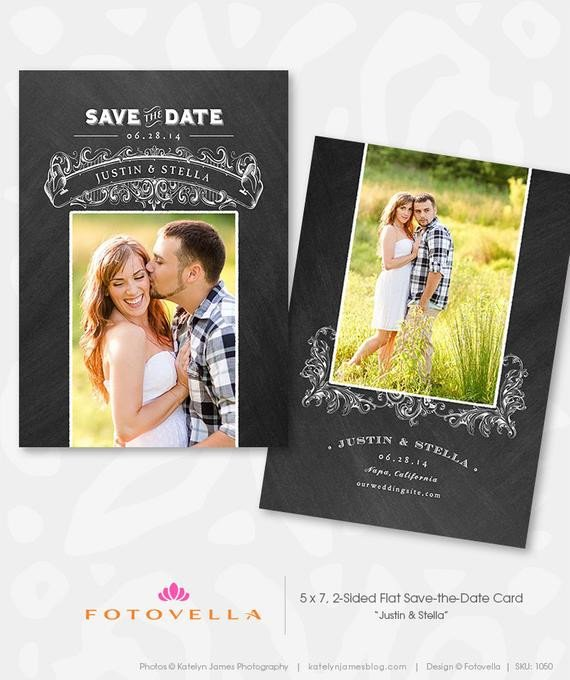 Save the Date Photoshop Templates Engagement Announcement Chalkboard Save the Date by Fotovella