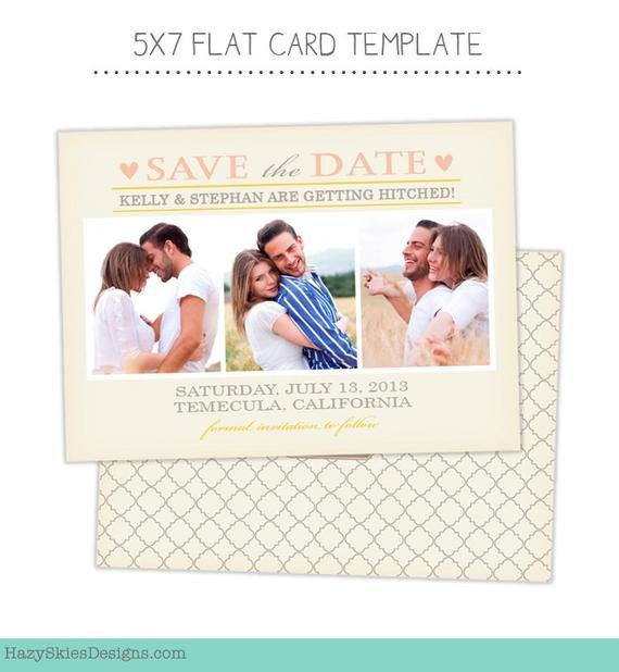 Save the Date Photoshop Templates Items Similar to Save the Date Card Template for