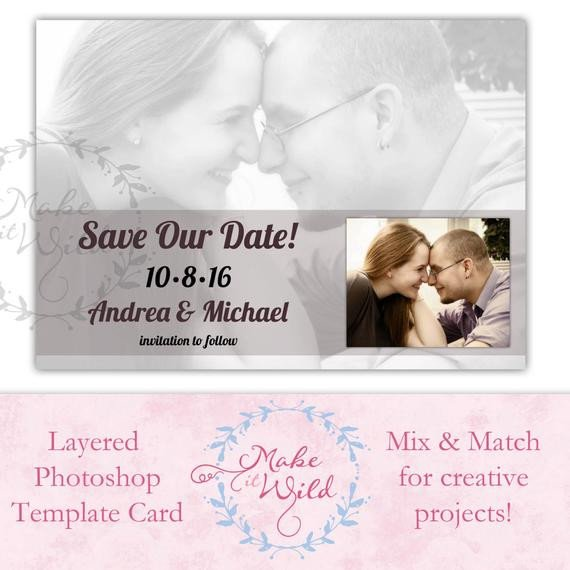 Save the Date Photoshop Templates Save the Date Digital Card Template Shop Digital Art