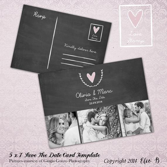 Save the Date Photoshop Templates Save the Date Postcard Save the Date Template Wedding by Eleob