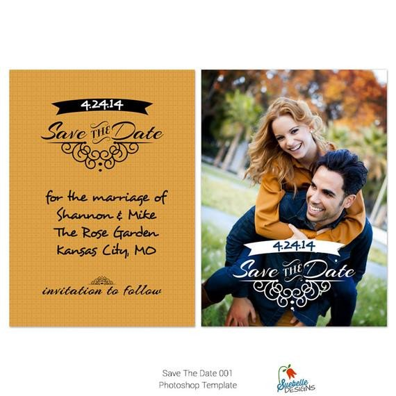 Save the Date Photoshop Templates Save the Date Shop Template 001