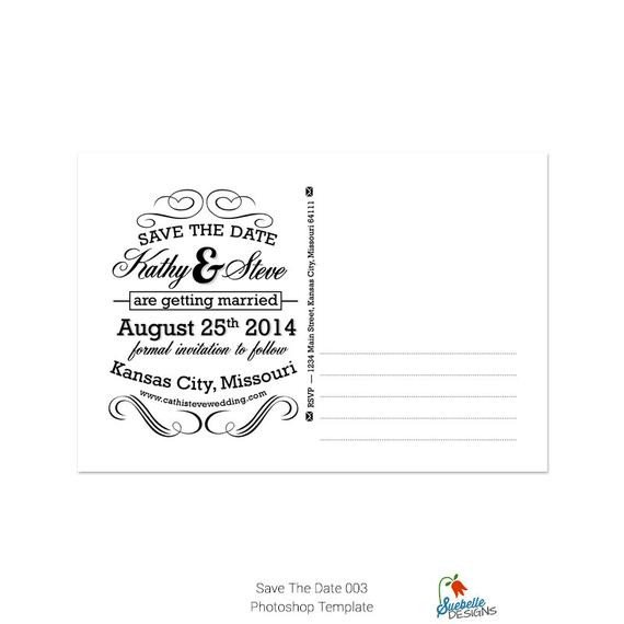 Save the Date Photoshop Templates Save the Date Shop Template 003 From Suebelledesigns