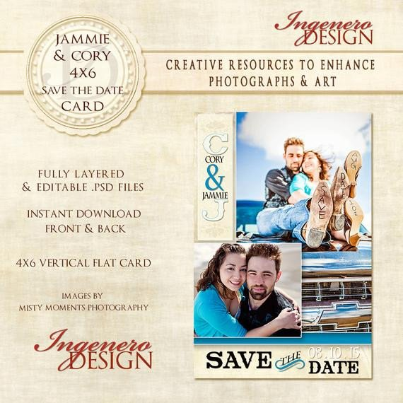 Save the Date Photoshop Templates Save the Date Shop Template Jammie and by Ingenerodesign