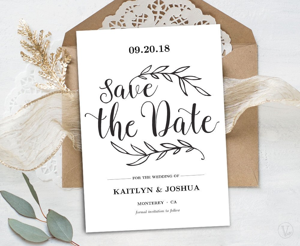 Save the Date Postcard Templates Printable Save the Date Card Template Kraft Save the Date