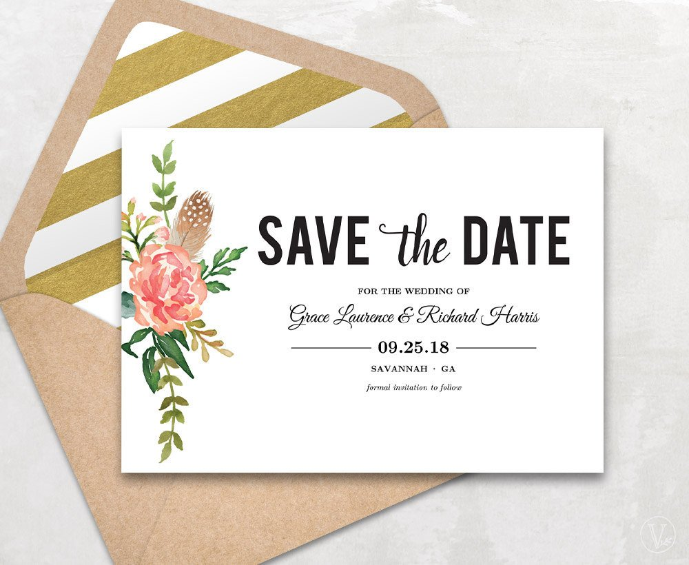 Save the Date Postcard Templates Save the Date Template Floral Save the Date Card Boho Save