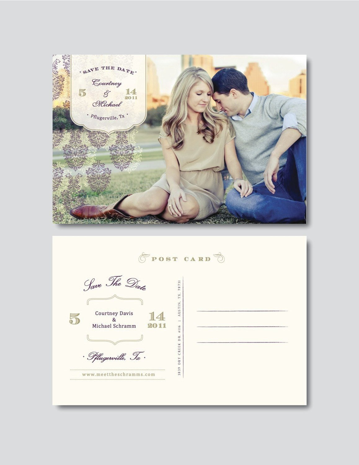 Save the Date Postcard Templates Vintage Save the Date Postcard Template Digital Shop