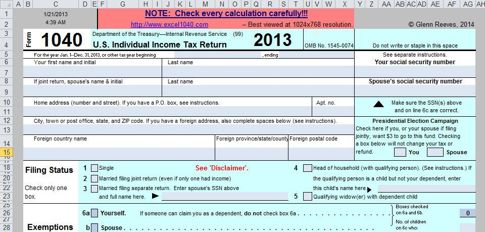 Schedule C Excel Template Spreadsheet Based form 1040 Available at No Cost for 2013