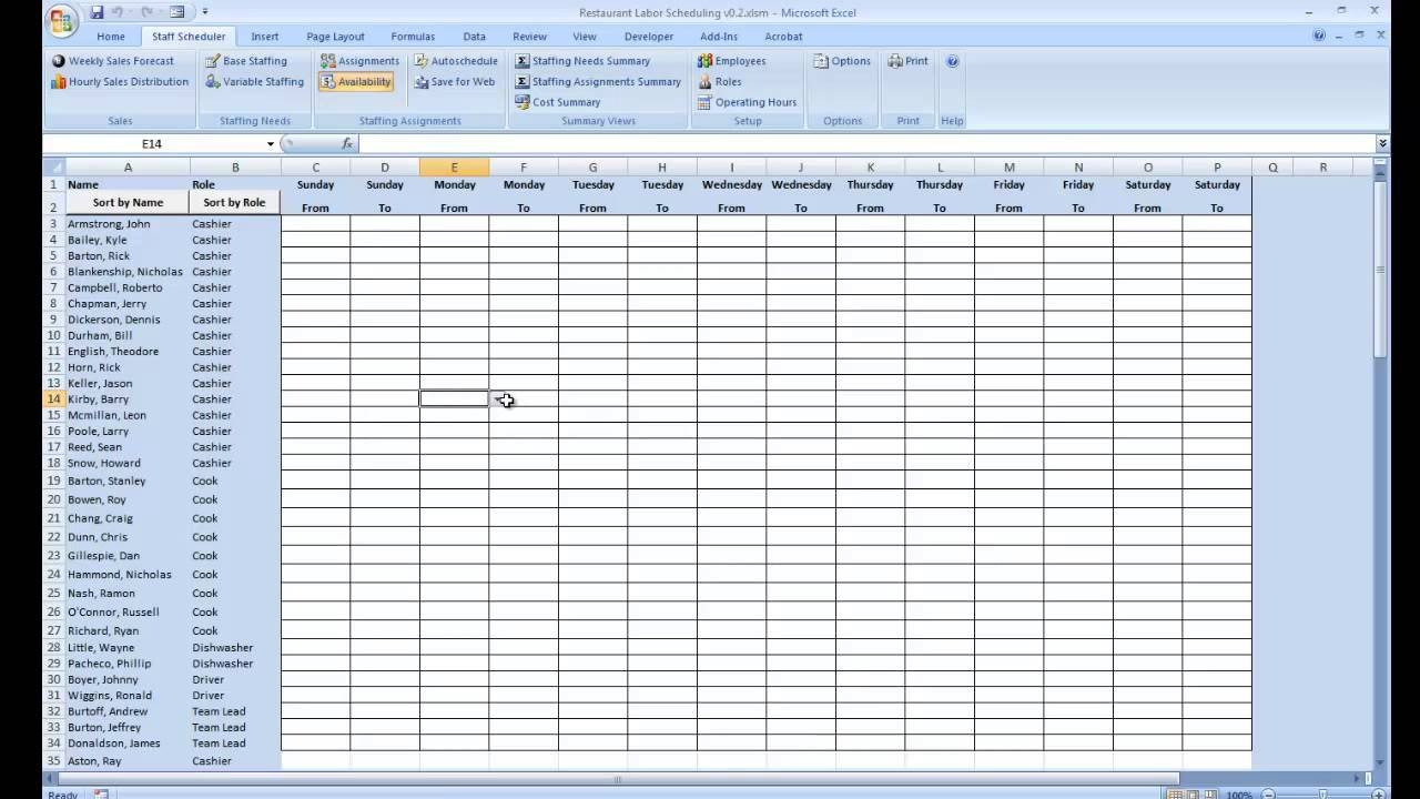 Schedule Of Availability Template Employee Availability