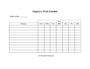 Schedule Of Availability Template Employee Work Schedule Template