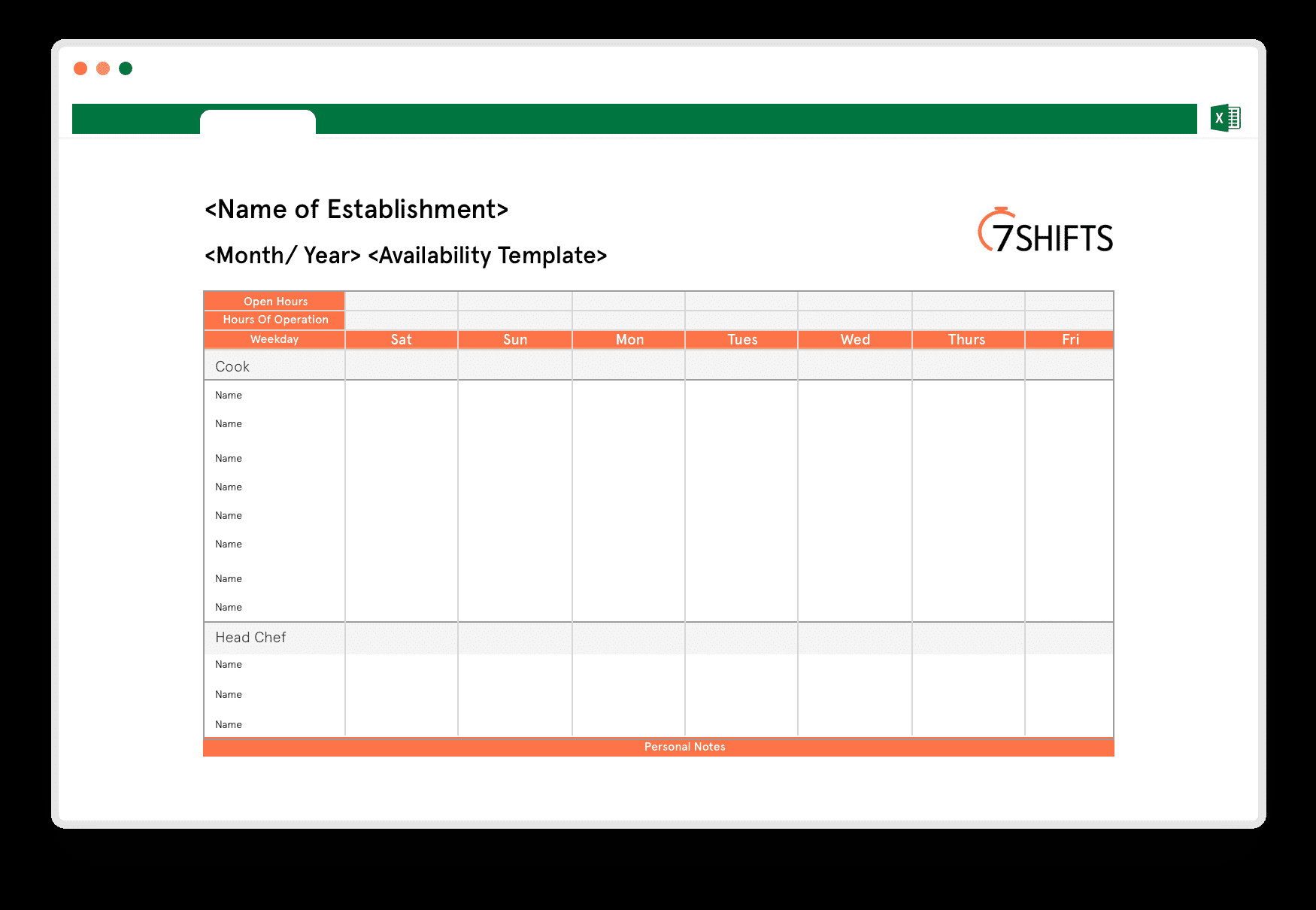 Schedule Of Availability Template Free Staff Availability Template