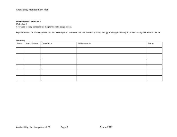 Schedule Of Availability Template Template Plano De Disponibilidade Dos Serviços