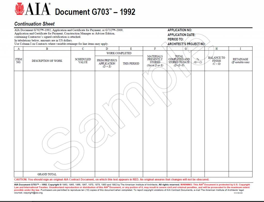 Schedule Of Values Template G703–1992 Continuation Sheet for G702 Aia Bookstore