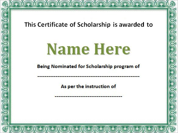 Scholarship Certificate Template Free 43 formal and Informal Editable Certificate Template