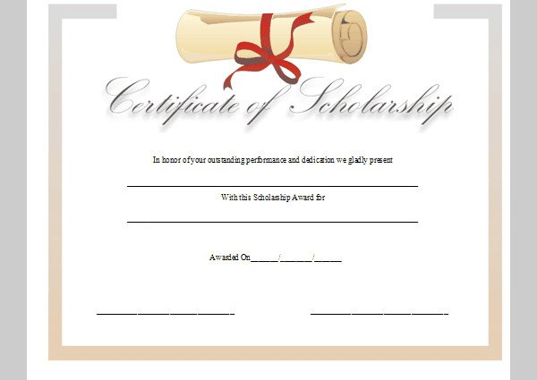 Scholarship Certificate Template Free Certificate Template for Scholarship Sample Of
