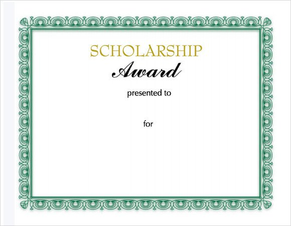 Scholarship Certificate Template Free Sample Scholarship Certificate Template 9 Documents In