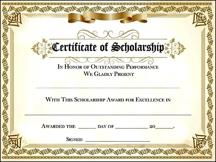 Scholarship Certificate Template Free Scholarship Award Certificate