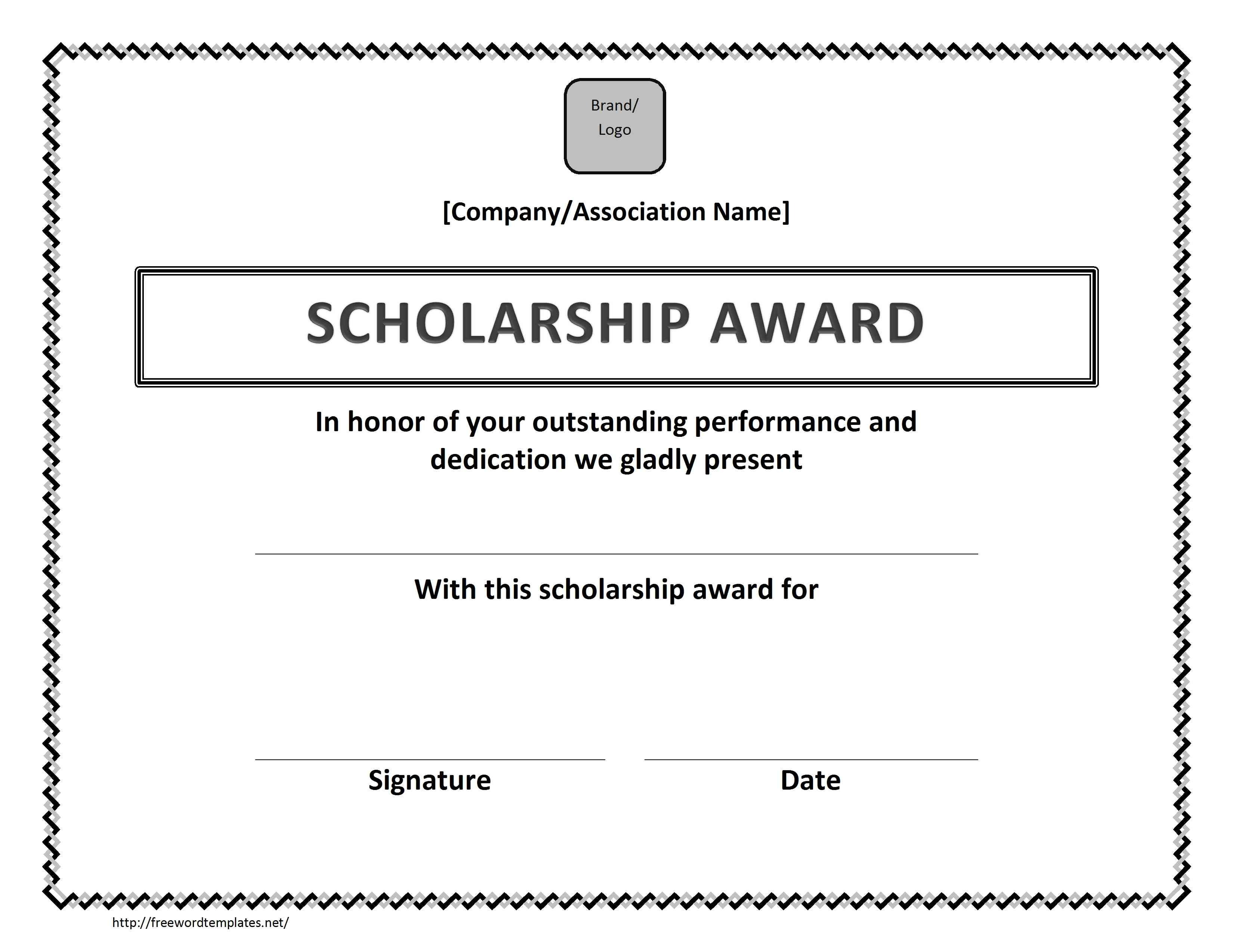 Scholarship Certificate Template Free Scholarship Award Certificate Template