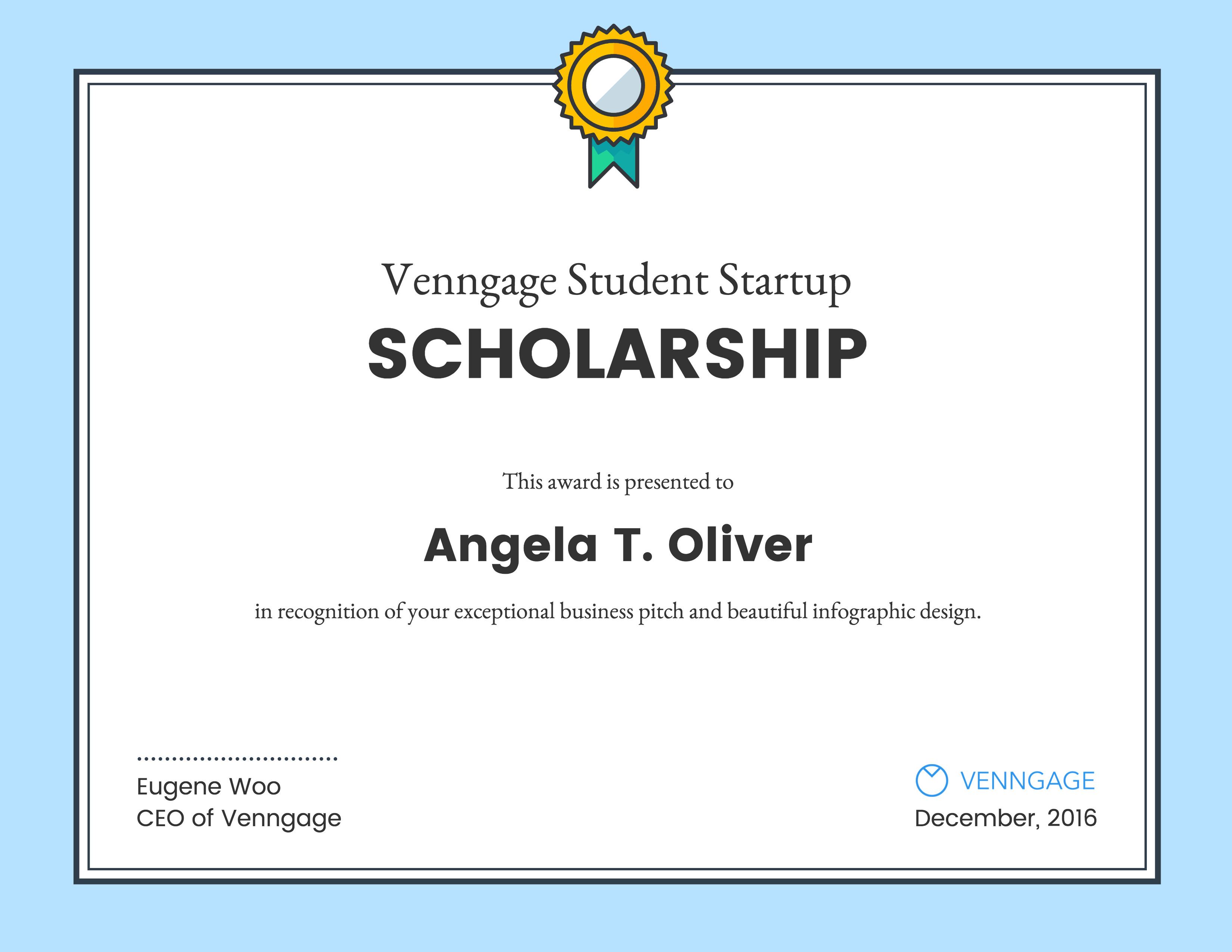 Scholarship Certificate Template Free Venngage Student Scholarship Winners Venngage