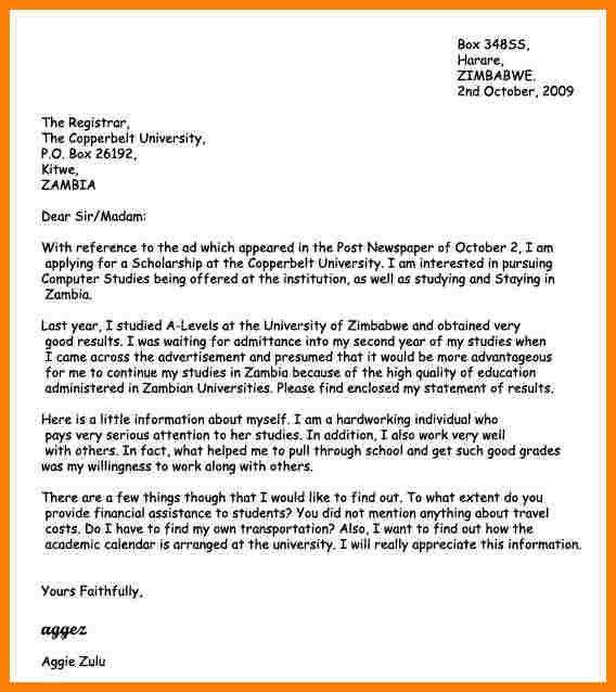 Scholarship Cover Letter Sample 4 Introduction Motivation Letter University