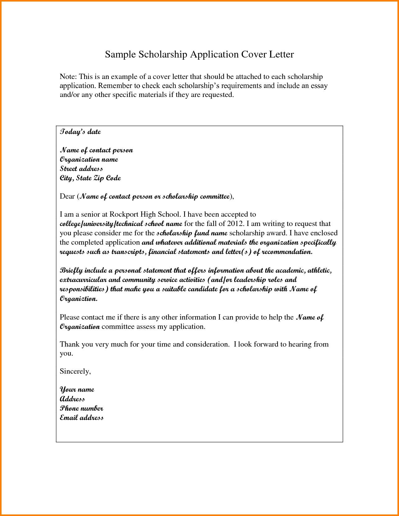 Scholarship Cover Letter Sample 7 Example Of Letter Of Application for Scholarship