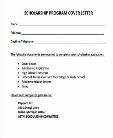 Scholarship Cover Letter Sample Cover Letter for Scholarship 5 Examples In Word Pdf
