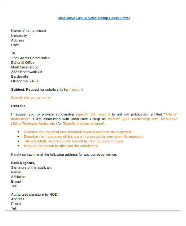Scholarship Cover Letter Sample Letter format 46 Free Word Pdf Documents Download