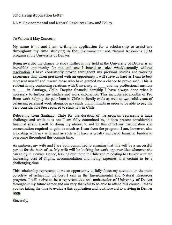 Scholarship Cover Letter Sample Scholarship Application Letter Sample