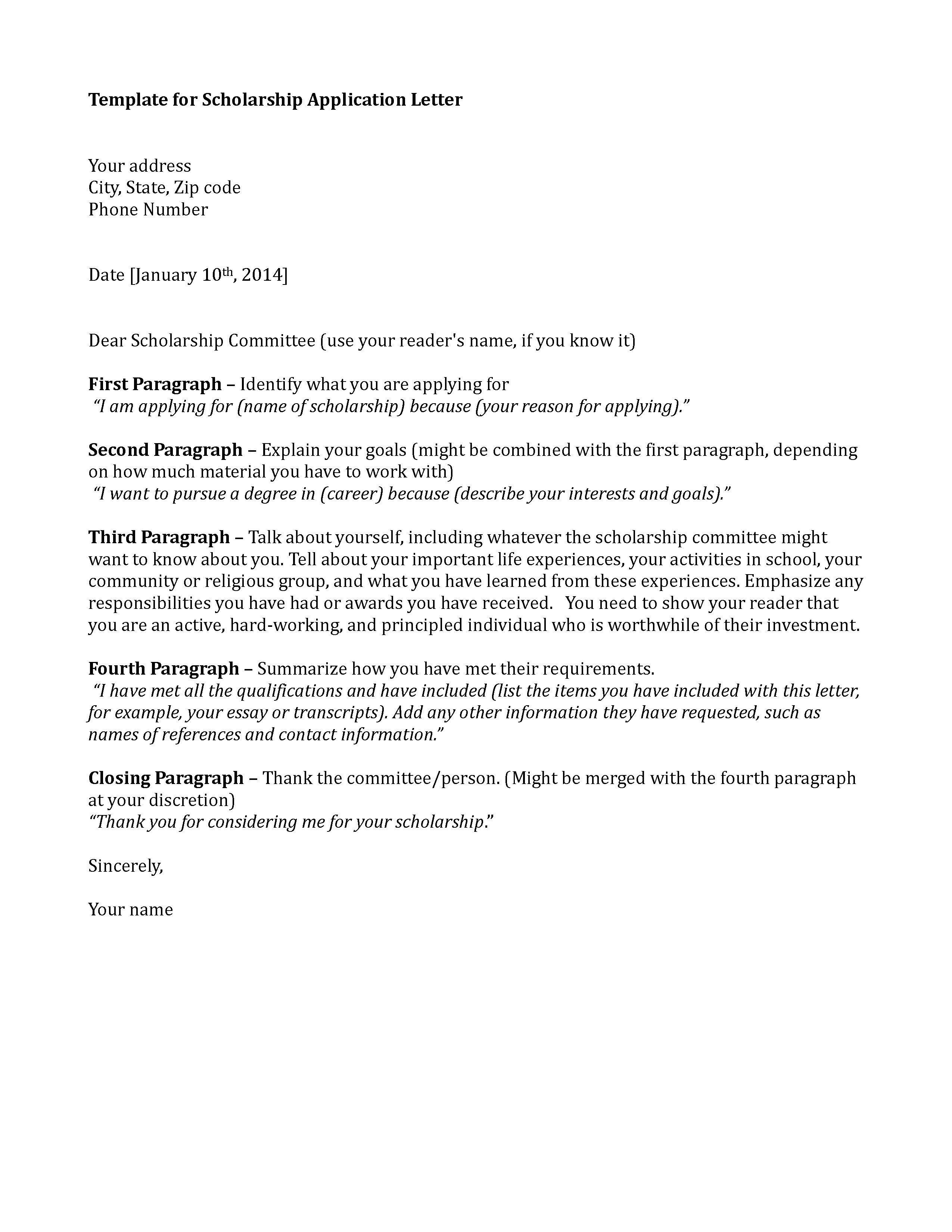 Scholarship Cover Letter Sample Scholarship Application Template Sample Application Letter