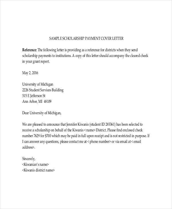 Scholarship Cover Letter Sample Scholarship Letter Template 11 Free Sample Example