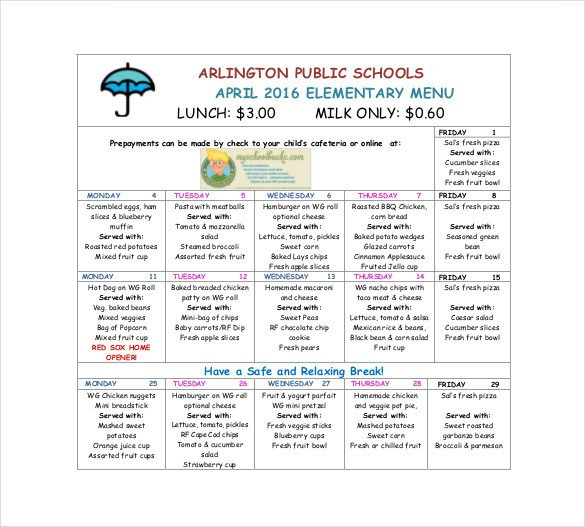 School Lunch Menu Template 17 School Menu Templates Psd Pdf Word Ai