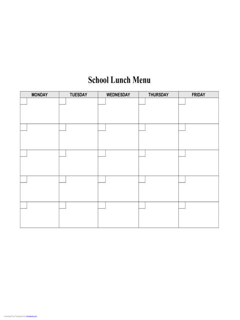 School Lunch Menu Template 2019 Food Menu Template Fillable Printable Pdf & forms
