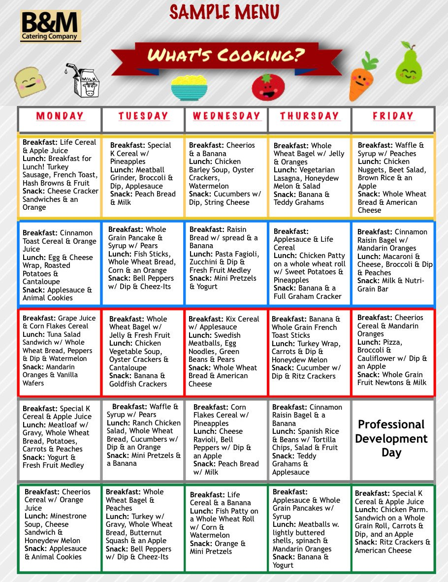 School Lunch Menu Template Childcare Meals