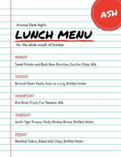 School Lunch Menu Template Customize 215 Lunch Menu Templates Online Canva