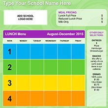 School Lunch Menu Template K 12