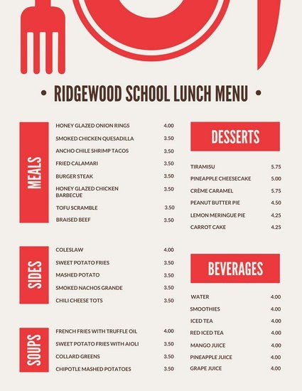 School Lunch Menu Template Menu Templates Canva