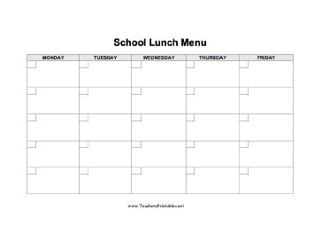 School Lunch Menu Template School Lunch Menu