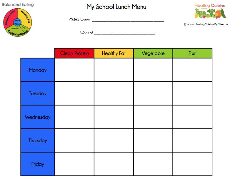 School Lunch Menu Template School Lunches Part 3 Menu Planning