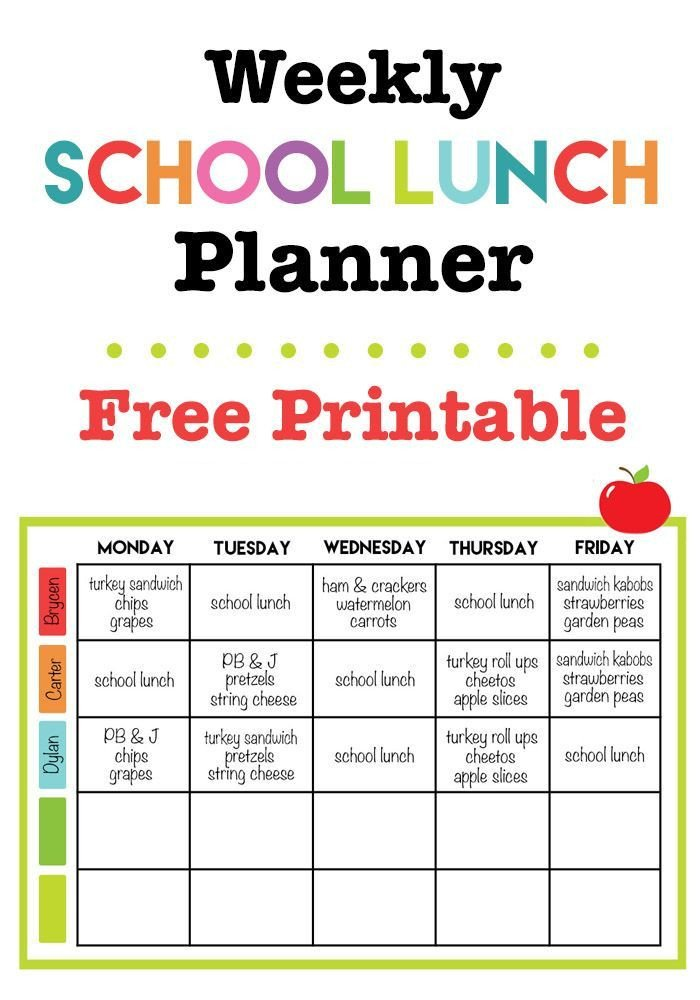 School Lunch Menu Template Weekly School Lunch Planner Printable
