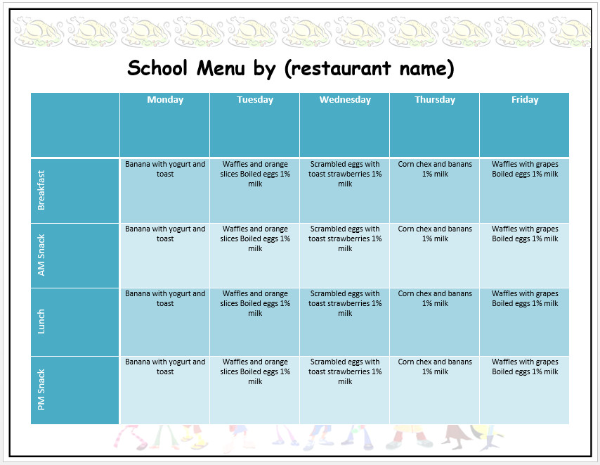 School Lunch Menu Template Weekly School Menu Template Word Templates