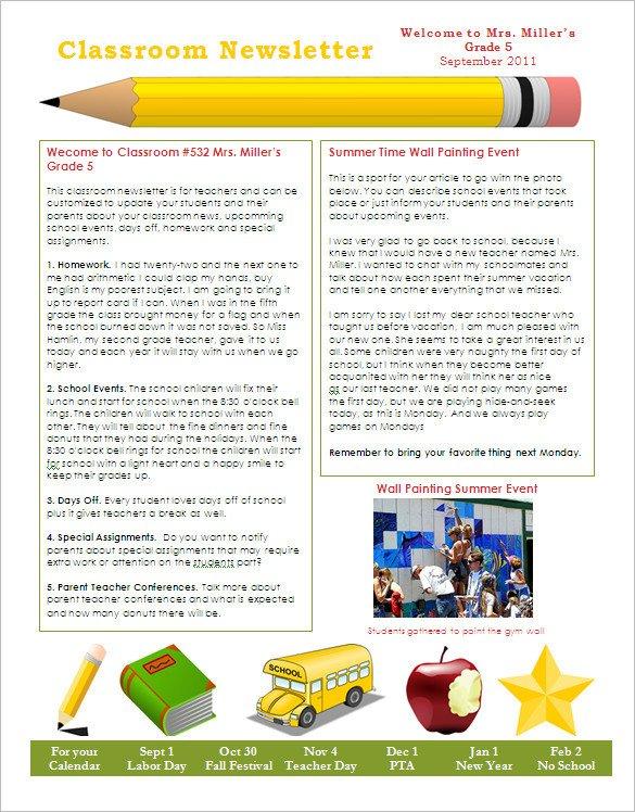 School Newsletter Templates Free 27 Microsoft Newsletter Templates Doc Pdf Psd Ai