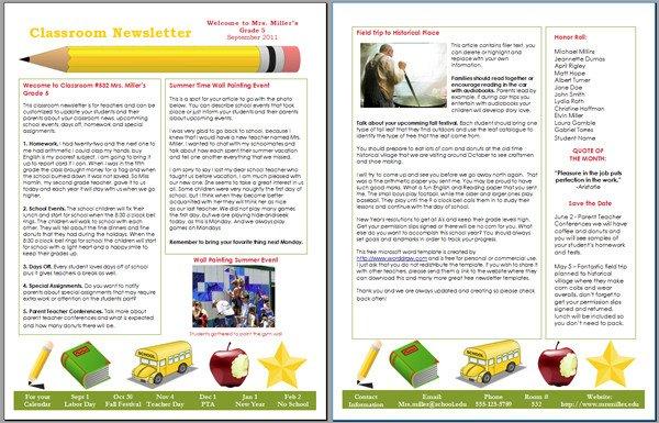 School Newsletter Templates Free Worddraw Free Classroom Newsletter Template