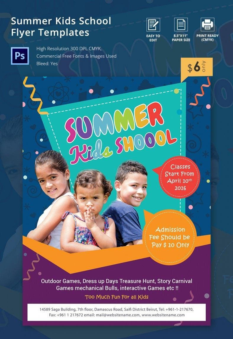 School Picture Day Flyer Template Summer Kids School Flyer Template Psd Word Ai format