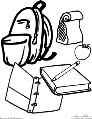School Supplies Images to Color Color the School Supplies Worksheet