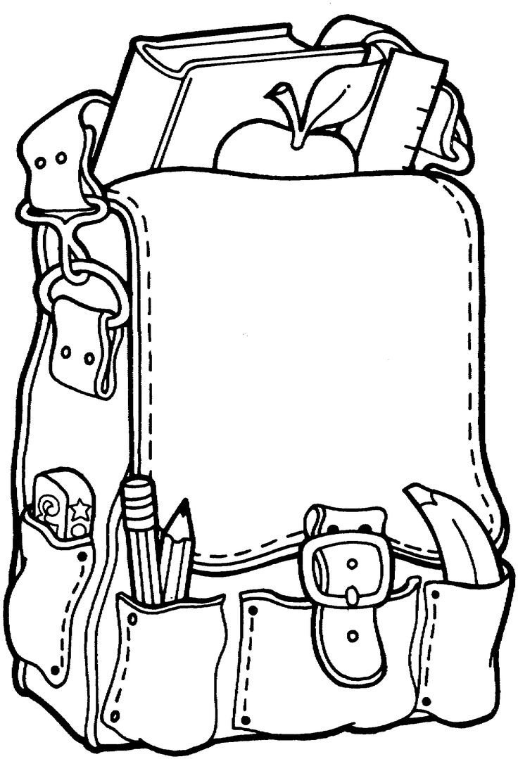 School Supplies Images to Color Free Printable Coloring Page Back to School Backpack