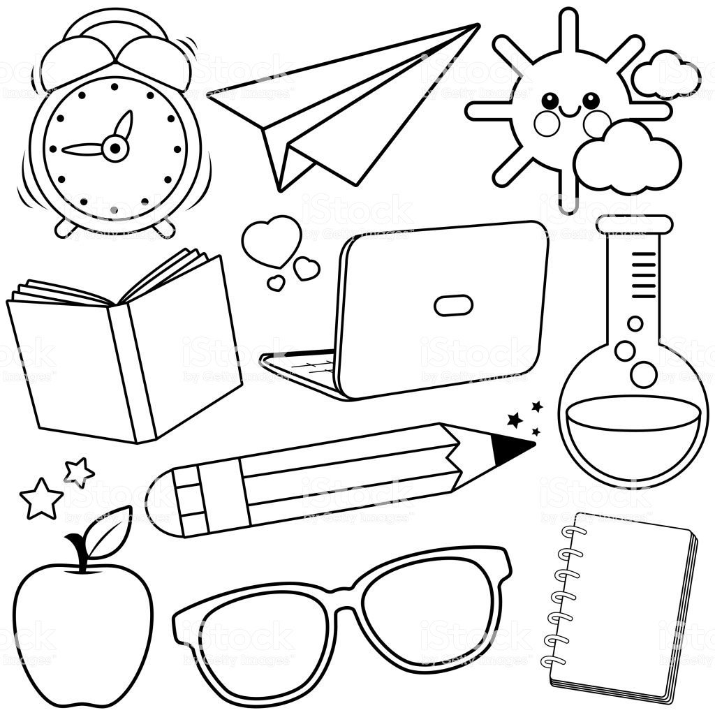 School Supplies Images to Color School Supplies Black and White Coloring Book Page Stock